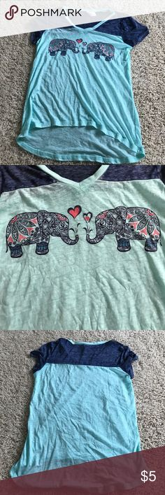 Tshirt Elephant Tshirt, light blue with navy blue sleeves, never worn before Tops Tees - Short Sleeve