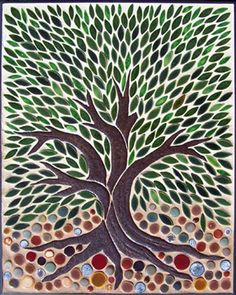 Lovely tree by Toms Royal - Wonderful idea for a shower stall, perhaps framed in a dark green tile and horizontal tiles in a few lines in the centre, running around the shower. Basic colour could be pewter type grey.