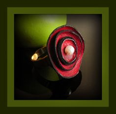 Leather and Pearl Ring  Crimson Red Color  by JewelryonPicadilly, $24.00