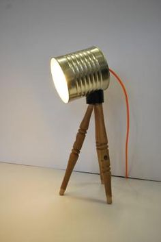 """Tripod-can"" unique desk lamp by James Proctor Owen. Reuse Material: Metal Food cans and Wooden Reclaimed furniture"