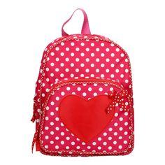 Neem je eten en drinken mee naar school in deze schattige roze rugzak met witten stippen. Op tas is een roze hart op de voorkant gestikt. De rugzak heeft een groot, afgesloten met een rits. Aan de verstelbare schouderbanden of het handvat draag je te de tas gemakkelijk met je mee.Afmeting artikel: 26 x 20 x 6 cm - Rugtas Hart met Stippen