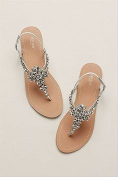 Jeweled flats for summer - sandals for summer- David's Bridal Gemma jeweled t-strap sandal, $30, David's Bridal -Check out more summer sandals on WeddingWire!