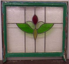 """OLD ENGLISH LEADED STAINED GLASS WINDOW Flower Design 24.5"""" x 20.5"""""""