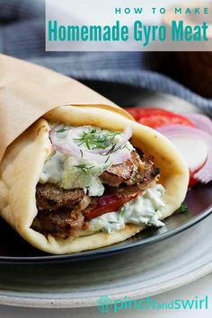 Enjoy authentic, homemade Gyro meat with this easy recipe! Make it with lamb, beef or pork. Then pile it high on a warm pita bread with fresh veggies and Greek Tzatziki sauce! #gyromeatrecipe #authenticgyromeatrecipe Easy Lamb Recipes, Meat Recipes, Real Food Recipes, Food Processor Recipes, Homemade Gyro Meat Recipe, 5 Minute Meals, Tzatziki Sauce, Pita Bread, Recipes