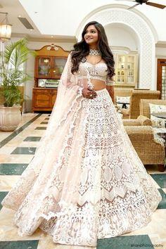 Indian Wedding Gowns, Desi Wedding Dresses, Indian Gowns Dresses, Indian Bridal Outfits, Indian Fashion Dresses, Bridal Dresses, Lehenga Wedding Bridal, Indian White Wedding Dress, Wedding Lenghas