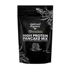 Mmedibles™ | High Protein Pancake Mix |  Ingredients: Organic spelt flour, Mettrum Originals™ Hemp Seed Flour, organic sugar, milk ingredients, dried whole eggs, aluminum free baking powder, sea salt.