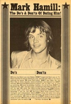 """Wouldn't """"The Do's & Don'ts Of Dating Mark Hamill"""" make a ton more sense? Also, I'm pretty sure this thing between you and Mark Hamill isn't going to work out. Best Dating Apps, Dating Advice, Dating Memes, Dating Quotes, Mark Hamill Luke Skywalker, Be My Hero, Star Wars Pictures, Star War 3, The Force Is Strong"""