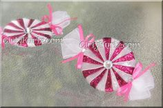 GLITTER Shocking Pink & White Peppermint Candy Hair Clips Hair Accessories