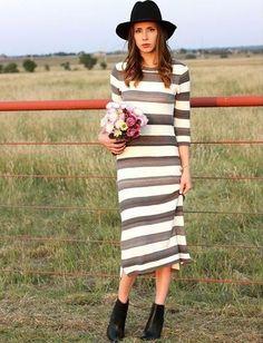 Sabilene Striped Midi Dress