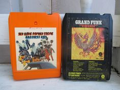 set of 2 8 track tapes vintage 8 track eight track Sly and the Family Stone Grand Funk Railroad retro 70s seventies music funk music