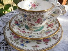 Spode Audley pattern bone china tea set of tea cup, saucer and plate - dainty handpainted flowers, gold rim.