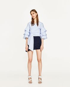 ZARA - WOMAN - BLOUSE WITH BOW AND RUFFLED SLEEVES