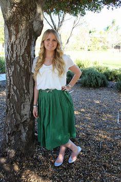 Sydney Skirt in pine http://www.modestpop.com/products/sydney-skirt-green