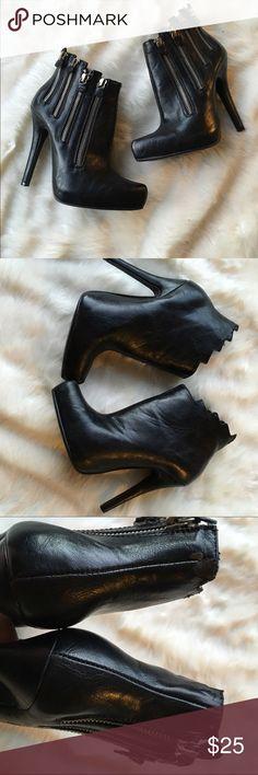 Liliana zipper heeled booties Liliana zipper heeled booties. Sz 6.5. Good worn condition. bottoms in great condition, some peeling on fabric (photos) Liliana Shoes Heels