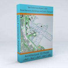 San Francisco SFO Airport Roads Buildings and Public Transport   3D model