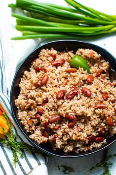 Jamaican Rice And Beans, Caribbean Rice And Beans, Jamaican Dishes, Jamaican Recipes, Rice Recipes, Vegetarian Recipes, Cooking Recipes, Jamacian Food, Rice And Beans Recipe