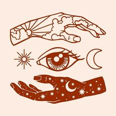 hand and eye simple illustration Berg Tattoo, Constilation Tattoo, Paint Tattoo, Night Tattoo, Tattoo Moon, Tattoo Flash, Tumblr Tattoo, Kunst Tattoos, Future Tattoos