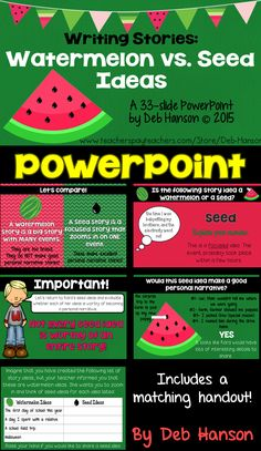 Personal Narrative Writings- Watermelon and Seed Ideas- 33 slide PowerPoint Writing Lessons, Teaching Writing, Writing Activities, Writing Ideas, Teaching Ideas, Kindergarten Writing, Writing Process, Student Teaching, Personal Narrative Writing