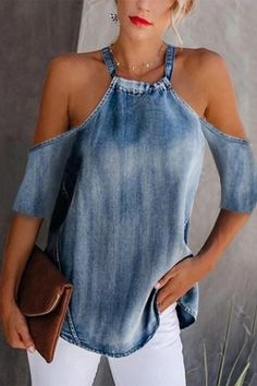 Classy off-shoulder denim halter vest, the fashion trending and hot sales now, size s to shop now!Classy off-shoulder denim halter vest, the fashion trending and hot sales now, size s to shop now! Denim Fashion, Fashion Outfits, Womens Fashion, Fashion Trends, Fashion Ideas, Style Fashion, 80s Fashion, Petite Fashion, Fashion Bloggers