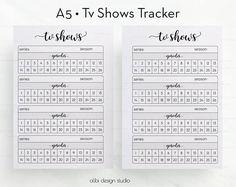 Tv Shows TV Show Tracker Planner Inserts Tv Tracker Tv Show Manager Tv Shows Organizer Printable Planner Insert Tv Series Bullet Journal Netflix, Bullet Journal For Kids, Bullet Journal Tracking, Bullet Journal Notebook, Bullet Journals, Planner Inserts, Planner Pages, Printable Planner, Organizer Planner