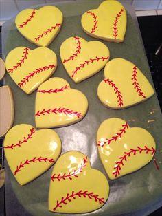 """Love"" softball cookies."