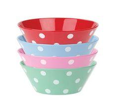 Dotty Set of 4 Melamine Bowls.