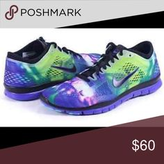 NIKE Free 5.0 TR fit 4 cross training shoes Love these!! But they're too small. 🙄. Mainly purple & black with a little pink yellow & green. Cute & comfortable. Only worn once & decided they were too small. Nike Shoes Sneakers