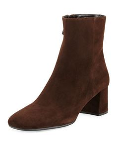 Suede+Square-Toe+55mm+Ankle+Boot,+Moor+(Moro)+by+Prada+at+Bergdorf+Goodman.