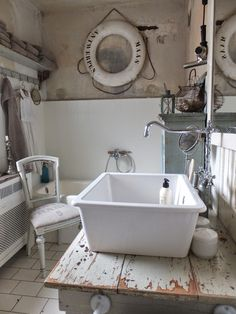 "princessgreeneye - love the wall color combination - plaster damage stains and all, in this vintage nautical inspired bathroom-- wonderful ""make-do"" aesthetic, kudos princess green eye!"