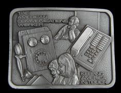 AMERICAN COMMUNICATIONS WORKER BELT BUCKLE KEEPING AMERICA IN TOUCH VINTAGE  | eBay