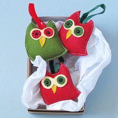 Three Handmade Felt Owl Christmas Decorations