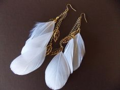 White Bohemian Feather Earrings with Gold Leaf Charms Women's Jewelry Spring Summer Accessories on Etsy, $12.95