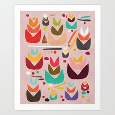 Proud Garden Art Print, Simple geometric shapes, leaf, plants, and colorful flowers, by Budi Satria Kwan - $20.00