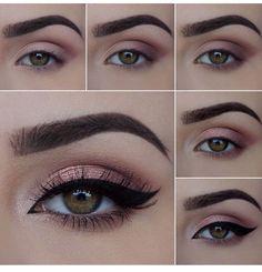 Eye makeup | Pink | Eyeshadow | Romantic | Eyelashes | Lashes | eyebrows | winged eyeliner