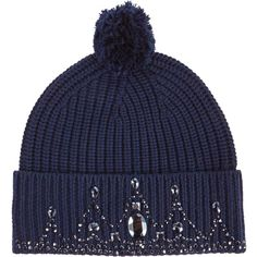 Markus Lupfer Jewelstone Tiara Beanie ($210) ❤ liked on Polyvore featuring accessories, hats, navy, thick knit beanie, chunky knit beanie, navy beanie, beanie cap and merino wool beanie