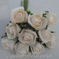 Artificial Colourfast Rose Bud Bunch - champagne cream