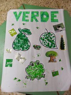 Este es el mural que he hecho con mis niños/as para trabajar el color verde.    Por grupos los niños/as han decorado los tres dibujos que he...
