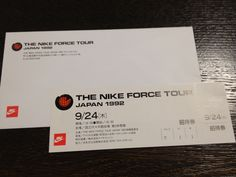 """""""1992 NIKE Force Tour"""" inivitation Ticket design. Ticket Design, Cards Against Humanity, Tours, Japan, Nike, Ideas, Thoughts, Japanese"""