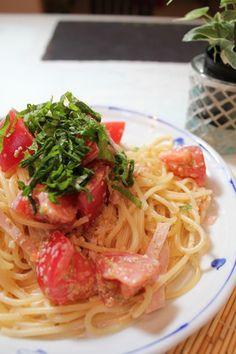 Cold Pasta with Tomato & Sesame 混ぜるだけ♪トマトとゴマの冷製パスタ
