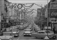 Christmas decorations on the main street, 1950s.