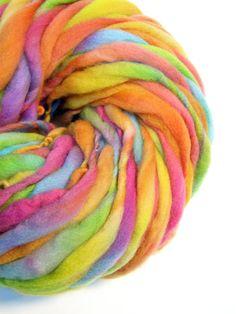 200 yards handspun rainbow yarn in thick and thin merino wool - 10.9 ounces/310 grams