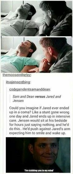 Don't even joke, Jared and Jensen are literal lights in the universe Supernatural Destiel, Castiel, Winchester Brothers, Dean Winchester, Fangirl, Jared And Jensen, Jensen Ackles, Bubbline, Film Serie