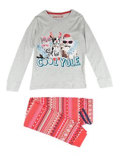 Pure Cotton Stay Soft Cat & Dog Print Pyjamas (6-16 Years) | M&S