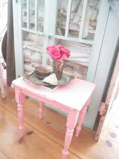 Vintage table table chippy pink  painted shabby chic prairie cottage chic by…