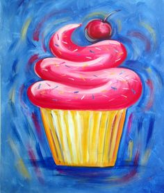66 Ideas For Painting Kids Canvas Cupcake Painting, Food Art Painting, Family Painting, Kids Painting Class, Acrylic Painting For Kids, Cupcake Kunst, Cupcake Art, Kids Paint Night, Kunst Party