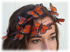 Autumn Orange Monarch Butterfly Crown by neesiedesigns on Etsy,
