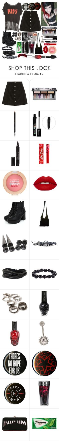 """""""'Cause this is a wasteland, my only retreat, with heaven above you, there's hell over me"""" by thelyricsmatter ❤ liked on Polyvore featuring AG Adriano Goldschmied, Kat Von D, Gucci, Tokidoki, Lime Crime, Maybelline, Acne Studios, Gioelli Designs, Forever 21 and Carolina Glamour Collection"""