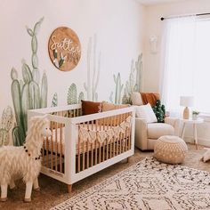 No prickly feelings over this sweet nursery! Loving the warm boho feel and fun c… No prickly feelings over this sweet nursery! Loving the warm boho feel and fun cactuc mural🌵. TAP image to shop best-selling crib! Baby Nursery Decor, Project Nursery, Nursery Neutral, Baby Decor, Nursery Room, Boho Nursery, Western Nursery, Cowboy Nursery, Jungle Theme Nursery