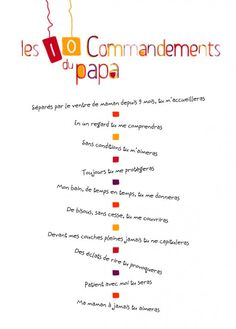 Beau 10 Commandements Futur Papa Parents, Dads, Baby Shower, Life, Phrases, Scrap, Printable, Child, Beauty