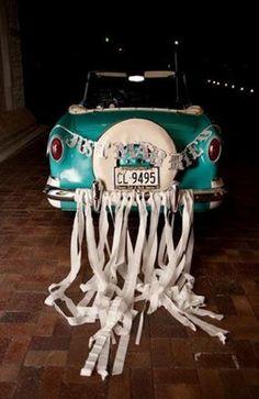 "vintage car with streamers and ""just married"" garland for retro wedding sendoff Wedding Send Off, Wedding Reception, Wedding Themes, Wedding Ideas, Wedding Cars, Wedding Fun, Little White Chapel, Wedding Planning Checklist, Weird And Wonderful"